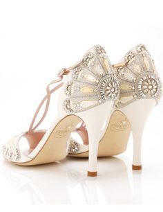 """Oh so Gatsby  ~ Emily Shoes, UK's """"Francesca"""" model   fully embellished in crystal and mother of pearl shell embroidery, made in the softest blush leather with metallic rose gold trim."""