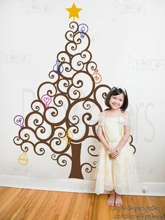 Holiday Decal- Christmas Tree with Colorful Bulbs- Children Kids Love Vinyl Removable