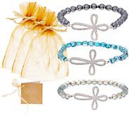 S/3 Faceted Bead Stretch Bracelets w/Pave Cross by Valerie - H213228