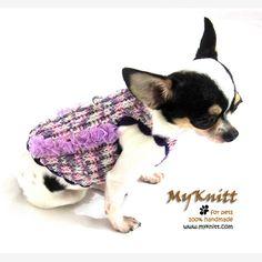 DIY handmade crocheted chihuahua dress harness by Myknitt. #myknitt #handmade #DIY #crochet #chihuahua #dogs #designerdogclothes #celebritydog #famouschihuahua