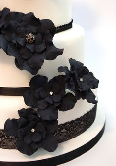 Kind Of How I Want My Cake Black Sugar Flowers Coming Down Just Like FlowersGardeniasWedding