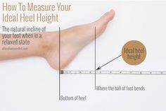 Very handy! Good to know, ladies! Super handy guide to always getting the best heels for your feet - whether they're or 2 Le Couple Parfait, Walking In High Heels, Shoe Boots, Shoes Heels, How To Measure Yourself, Feet Care, Ankle Straps, Refashion, Super