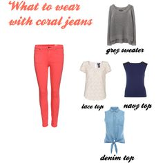 What to wear with coral jeans - Polyvore