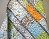 Modern Baby Quilt - Backyard Baby Boy Quilt - Gray Aqua Orange Quilt