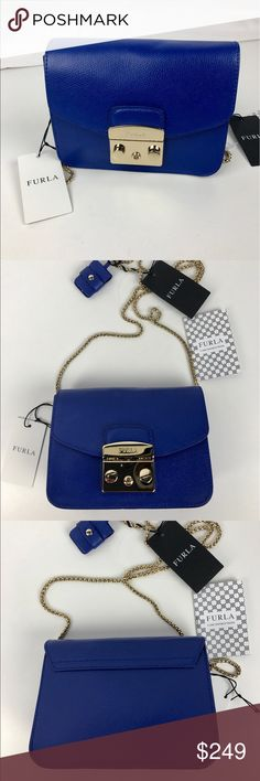 """Furla Mini Metropolis Italian Leather Crossbody Authentic. New with Tags and Care Card  Despite its diminutive size, this feminine Furla crossbody makes a seriously chic statement with rich leather and signature hardware. Chain link crossbody strap. 6.5""""W x 3""""D x 5""""H; 22"""" drop. Made in Italy. RB823   Thank you for your interest!   PLEASE - NO TRADES / NO LOW BALL OFFERS / NO OFFERS IN COMMENTS - USE THE OFFER LINK :-) Furla Bags Crossbody Bags"""