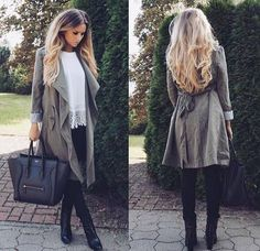 Fall Outfit - Grey waterfall jacket