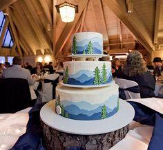 mountain themed wedding cake