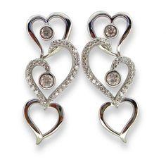 Sterling Silver 925 Triple Heart Link with Cubic Zirconia Earring