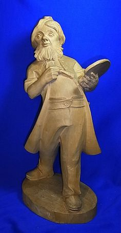 "Vintage German Wood Carved Painter Figure / Statue "" 19 inch #<"