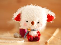 Teddy bear softie toy in red made to order by knittingdreams