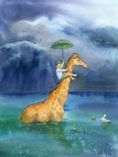 Giraffe: an adventures in reading poster. Watercolor.   www.jenbetton.com
