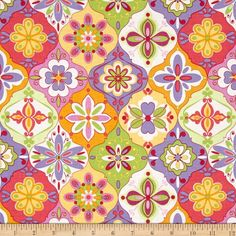 Riley Blake Extravaganza Ceramic Multi from @fabricdotcom  Designed by Lila Tueller Designs for Riley Blake, this cotton print is perfect for quilting, apparel and home decor accents. Colors include white, green, purple, pink, orange and yellow.