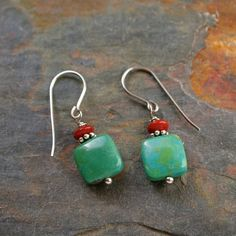 Red jasper and turquoise earrings