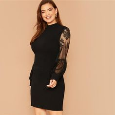 Women's Summer Lace Sheath Polyester Dress   Plus Size   ZORKET   Material: Polyester, Spandex • Style: Office Lady, REGULAR • Decoration: Button, Contrast Lace, Sheer • Silhouette: Sheath • Neckline: Turtleneck • Waistline: Natural • Type: Solid