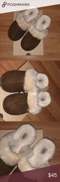Ugg Slippers In perfect condition '  Used them Polly 3 times !  As you can see inside is pretty clean ! These are big kids size 5 which fits women size 7 and 6/5 ! Will not trade and my price is firm because the price is low already ! Comes with the box as well ! Have been washed at Nordstrom and is clean with the protector ! UGG Shoes Slippers