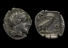 Silver coin showing the Athenian Owl, 600-480 BC