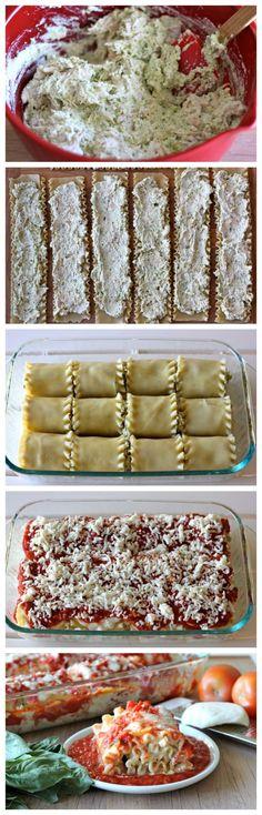 Chicken Pesto Lasagna Roll Ups - Comfort food in easy single serving form with a cheesy  creamy pesto filling!.