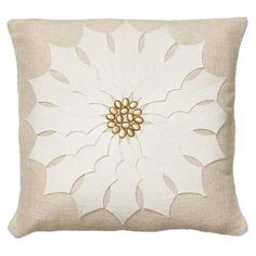 Poinsettia Pillow in White  at Joss and Main