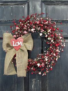 Valentine Wreath  Pink Heart & Red Berry Wreath  by Designawreath