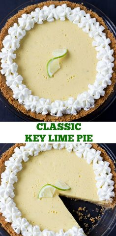 Classic Key Lime Pie Recipe - creamy luscious and perfectly tart with fresh key lime juice. ~Classic Key Lime Pie Recipe - creamy luscious and perfectly tart with fresh key lime juice. Just Desserts, Delicious Desserts, Yummy Food, Key Lime Desserts, Yummy Drinks, Healthy Food, Classic Key Lime Pie Recipe, Pioneer Woman Key Lime Pie Recipe, Creamy Key Lime Pie Recipe