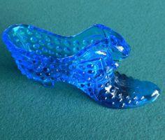 Vintage Fenton Blue Hobnail Shoe Slipper Art Glass Mint   eBay
