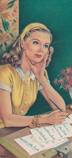 Super Vintage Retro Pin Up Ideas Posters Vintage, Images Vintage, Art Vintage, Vintage Drawing, Retro Art, Vintage Love, Vintage Pictures, Vintage Ads, Vintage Romance