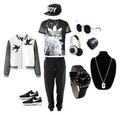 """Black and white combination - 2"" by shadow-168 ❤ liked on Polyvore featuring adidas, NIKE, BOY London, SMS Audio, Una-Home and Chanel"