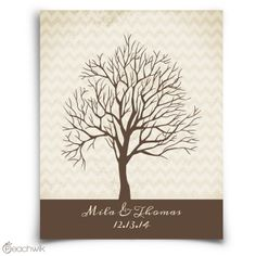Chevwik Fingerprint Tree Guest Book | Wedding Guestbook Alternative | Thumbprint Tree | Wedding Colors: Neutral brown & cream, chevron pattern | Peachwik