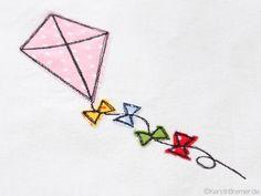 Drachen doodle Stickdatei von KerstinBremer.de ♥ Doodle kite appliqué embroidery for embroidery machines.  #sticken #nähmalen #stickdatei