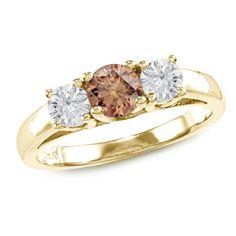 Auriya 14k Gold 1ct TDW Brown Round Diamond 3-stone Ring (SI1-SI2) (Yellow Gold - Size 8.5), Women's