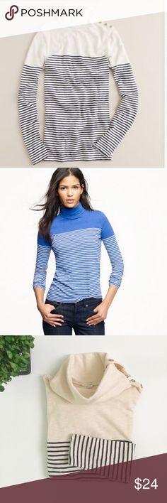 """J CREW Painter Turtleneck Tee In Stripe Gently used condition. A soft cotton turtleneck in classic stripes typifies easy-chic dressing. With a row of functional gold buttons along the neck and shoulder for subtle bling and the ability to wear it buttoned up or folded over for a more relaxed look. Here's to keeping your options open. Cream/navy. Chest: 14"""". Neck: 7"""". Length: 23"""". Sleeve: 22"""". Ask any questions before purchasing. J. Crew Tops"""