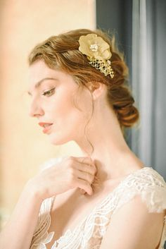 Gold headpiece - - there are two hair adornments in this listing: A hand-p. Flowers In Hair, Flower Hair, Gold Headpiece, Gold Hair, Wedding Veil, Hair Pins, Most Beautiful, Chiffon, Trending Outfits