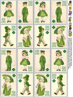 Faux postage stamps (Lisa Vollrath & Go make something) - - St Patrick's Day St Patricks Day Cards, Saint Patricks, Erin Go Bragh, Postage Stamp Art, Irish Blessing, St Paddys Day, Mom Day, Luck Of The Irish, St Pattys
