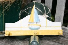 SAILBOAT HANGER  12 WHITE  YELLOW NAUTICAL DECOR * Click on the image for additional details.