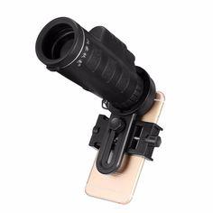 10x40 Telescope Camera Lens Monocular, Mobile Phone Holder Clip Hiking Concert Universal for Smartphone.