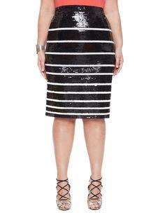 Studio Shrinking Stripes Sequin Skirt Black/White