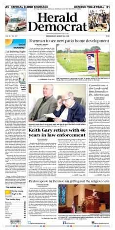 A preview of Wednesday's front page. See more at heralddemocrat.com.