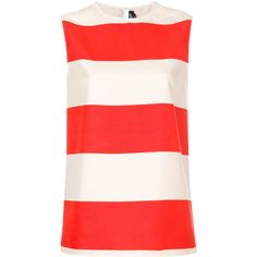 Calvin Klein 205W39nyc striped sleeveless blouse (12.081.060 IDR) ❤ liked on Polyvore featuring tops, blouses, red, striped silk blouse, silk top, silk sleeveless top, red silk blouse and red sleeveless blouse