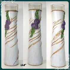 Tall vase - glass vase, recicled fabrics, acrilic paint