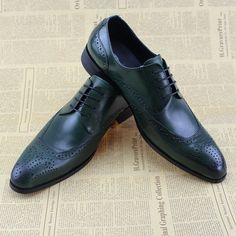 78be564c59f Aliexpress.com   Buy FELIX CHU 2017 New Design Green Genuine Leather Dress  Shoes For Men Brogues Lace Up Shoes Formal Business Dress Suit Shoe D951 9  from ...