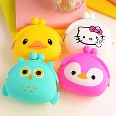 한국어 캔디 컬러 여자 동전 가방 여성 키 지갑 귀여운 만화 실리콘 미니 동전 지갑 어린이 키즈 선물 FH-010