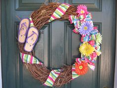 Spring Flip Flop wreath/Grapevine wreath/Gerber daisy wreath with ribbon/Spring/Summer/Spring colors wreath