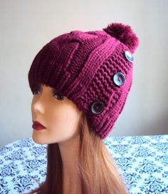 Women's Pom Pom Hat KNIT BUTTON HAT Chunky Hat Beanie Cabled Burgundy Red Beanie Ski Hat Women Winter Accessories Gift Ideas Under 50 by GrahamsBazaar, $32.99