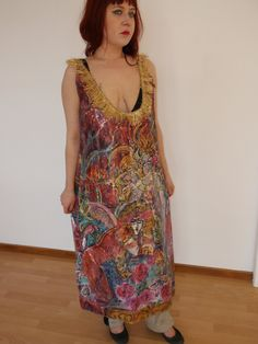 Handpainted silk dress size S. - pinned by pin4etsy.com