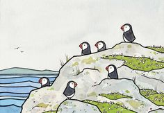 Puffins and sea thrift. Print from watercolor and ink illustration. High quality art print Signed and dated Prints come in white acid-free mats (standard sized and ready to stick in a frame!) 5x7 in a