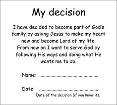 Decision card - Truth for kids