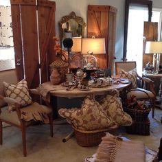 Handmade pillows, upholstered chairs, cedar hinged doors