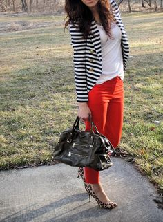 striped jacket + colored pants