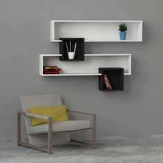 white & walnut modern shelving,bookcase design shelving/storage contemporary living room furniture,unique in design..cheap discounted deals UK..Stunning wooden