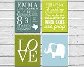 Children Birth Announcement Elephant Art You Are My Sunshine Wall Art Print Set FOUR, Personalized Baby Blue Olive Lime Green White ofCarola
